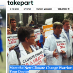 Takepart cover and headline, with doctors in white coats marching in People's Climate March.