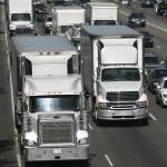 diesel truck traffic on freeway
